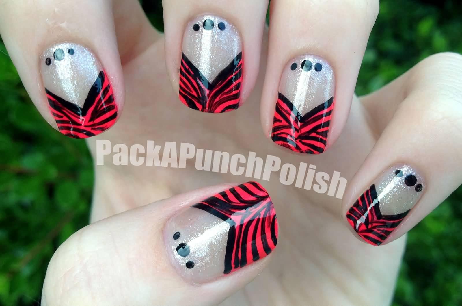 50 latest french tip nail art designs v shape zebra print french tip nail art prinsesfo Images