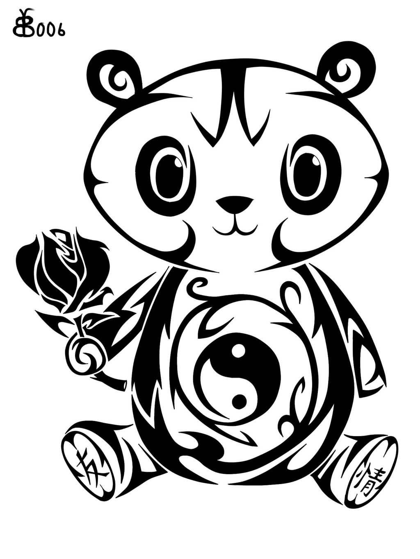 Tribal-Tattoos Very-Cute-Tribal-Panda-Holding-Rose-Tattoo-Design