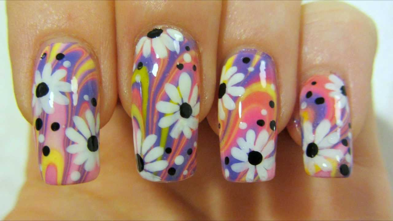 Water Nail Art Neon Flower Nails - Flowers Healthy