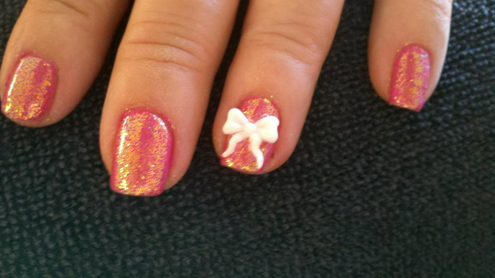 42 beautiful bow nail art design ideas for girls white 3d bow nail art design on orange nails prinsesfo Image collections