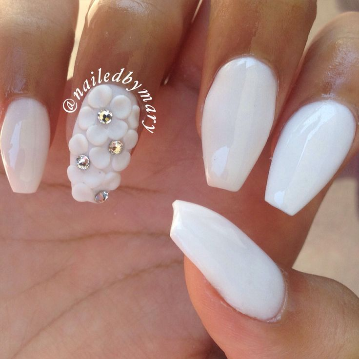 51 very beautiful 3d flowers nail art designs white 3d flower accent nail art prinsesfo Image collections