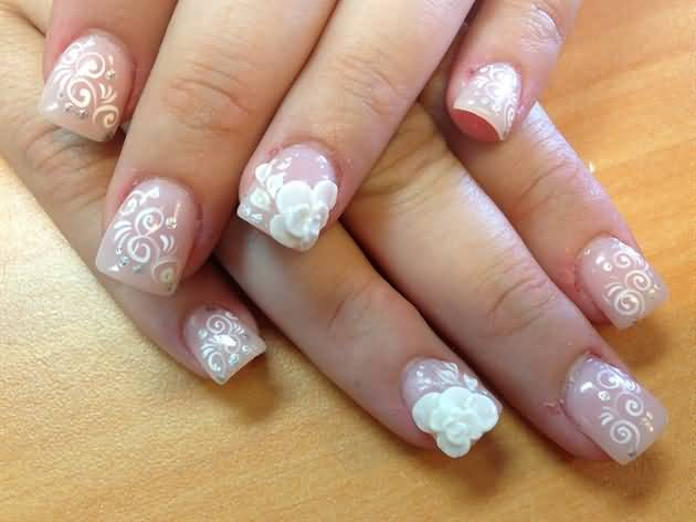 51 very beautiful 3d flowers nail art designs white 3d flower nail art with lace design prinsesfo Image collections