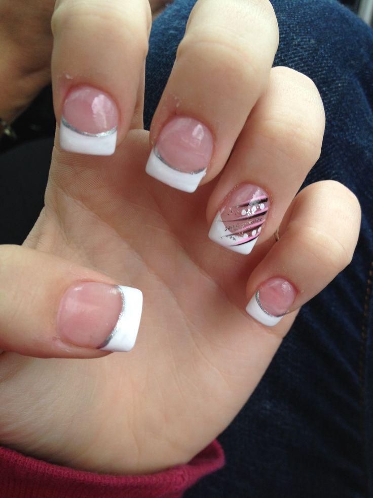 50 latest french tip nail art design ideas white acrylic french tip nail art design prinsesfo Gallery