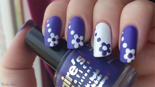 White And Purple Flower Nail Art With Polka Dots - 55 Most Beautiful Flowers Nail Art Design Ideas