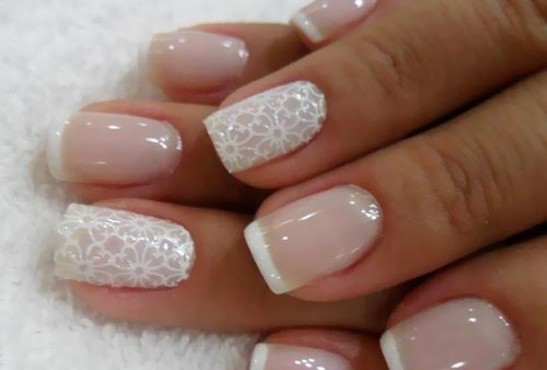 - White Flower Design With French Tip Nail Art