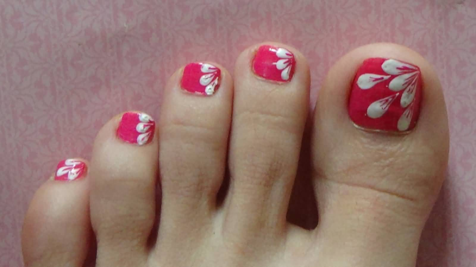 50 most beautiful and stylish flower toe nail art design ideas white flower petals easy design nail art for toe prinsesfo Images