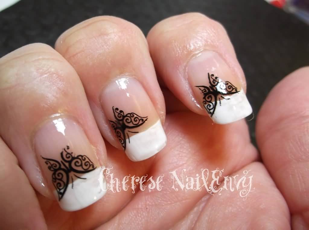 50 latest french tip nail art design ideas white french tip nail art with black butterfly design prinsesfo Choice Image