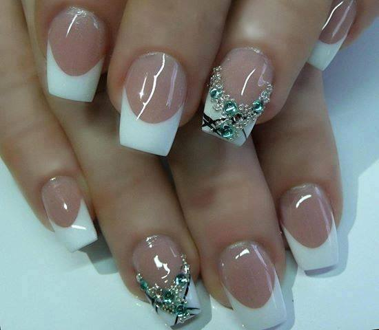 White french tip nails art with glitter nails prinsesfo Choice Image