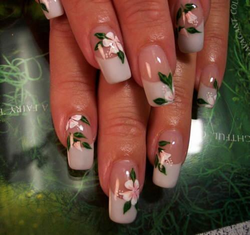 White French Tip With Simple Flower Nail Art - 45 Very Cute Flower Nail Art Ideas Collection For Girls