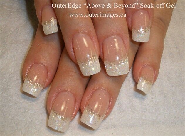 50 latest french tip nail art designs white glitter french tip nail design prinsesfo Gallery