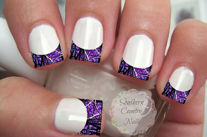 White Glossy Nails With Purple French Tip Nail Art Design