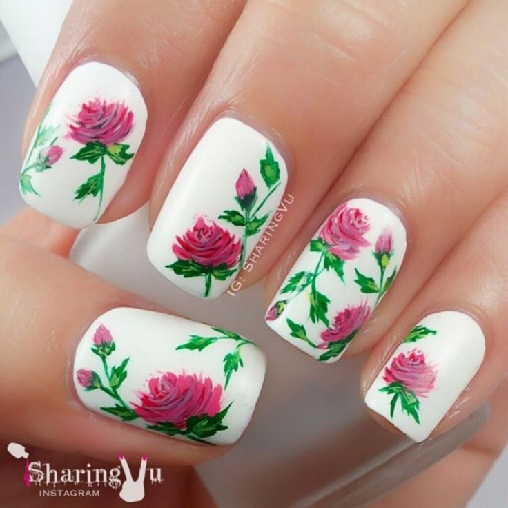 55 Most Stylish Flower Nail Art Design Ideas White Matte Nails With Pink Rose Flowers
