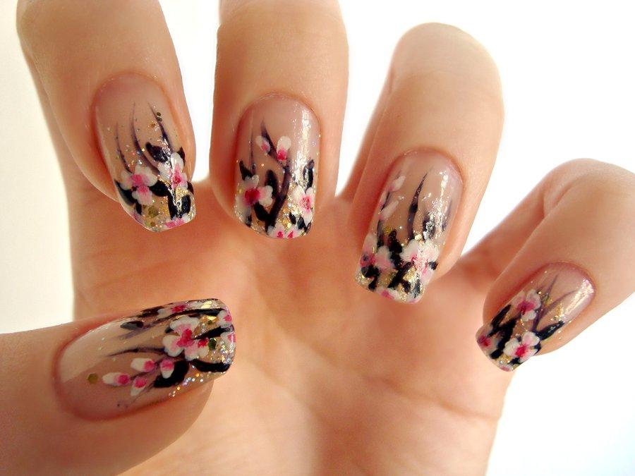 Purple nail art designs acrylic nail designs - 55 Most Beautiful Flowers Nail Art Design Ideas