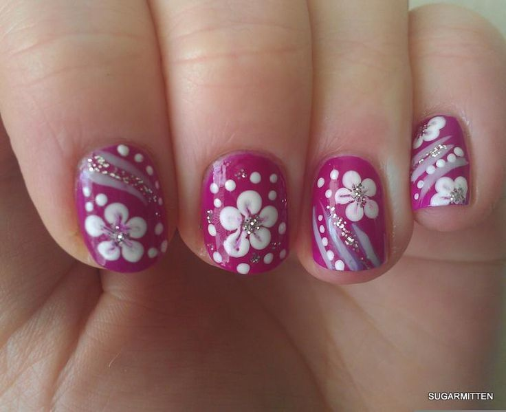 White Polka Dots And Flower Nail Art - 55 Most Beautiful Flowers Nail Art Design Ideas