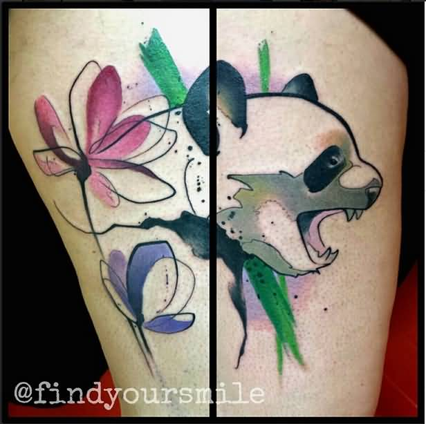 Panda Eating Bamboo Tattoo