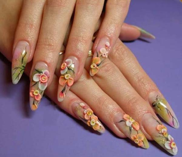 Acrylic Flowers Nail Art Design Idea
