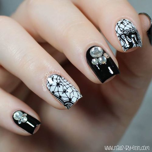 55 most beautiful lace nail art designs accent black and white lace nail art prinsesfo Image collections