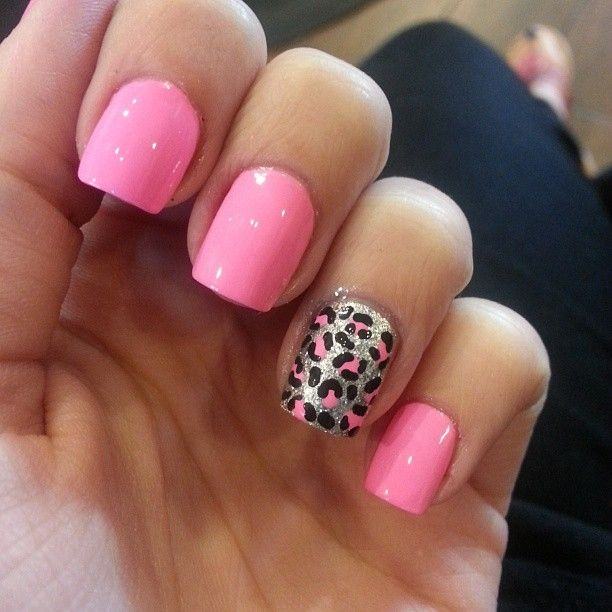 45+ Cute Pink Leopard Print Nail Art Designs