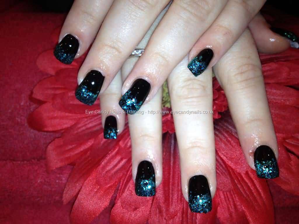 40 stylish black acrylic nail art designs acrylic nails with black polish ad glitter design prinsesfo Gallery