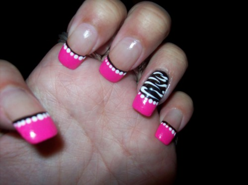 Acrylic Pink French Tip With Accent Animal Print Design
