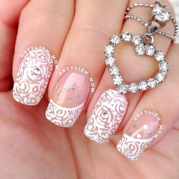 Adorable White Lace Nail Art Design