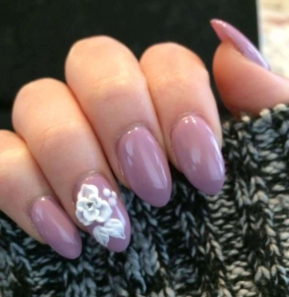 Almond Shape Purple Acrylic Nail Art With White 3d Flowers Design