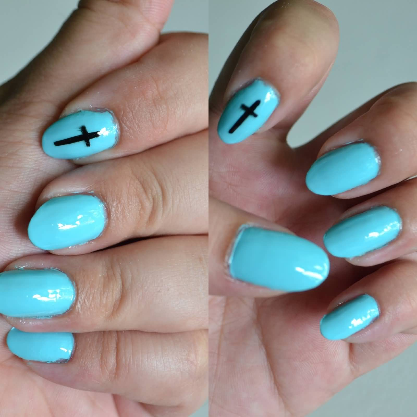 Almond Shaped Blue Acrylic Nail Art With Black Cross Sign