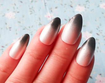 45 most beautiful almond shaped acrylic nail art design ideas almond shaped ombre acrylic nail art prinsesfo Choice Image