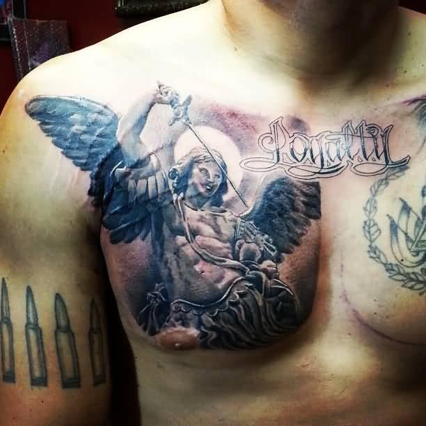 archangel tattoo on upper back for men. Black Bedroom Furniture Sets. Home Design Ideas