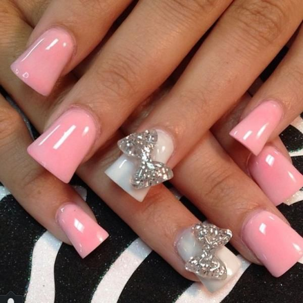 60 best pink acrylic nail art designs baby pink acrylic nail art with accent 3d bow design prinsesfo Image collections