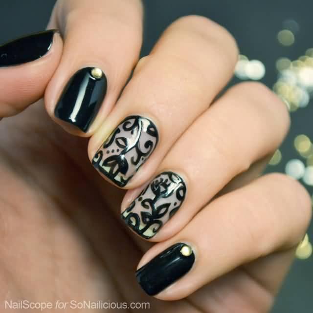 Beautiful Lace Flowers Nail Art