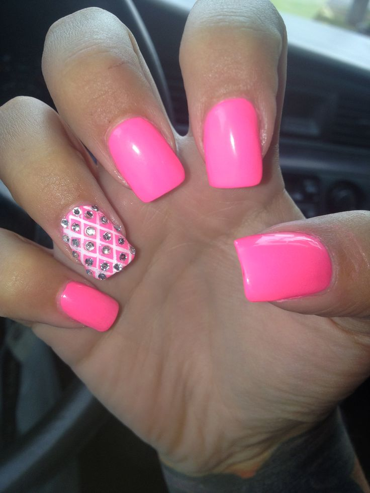 Beautiful Pink Acrylic Nail Art With Accent Rhinestones Design