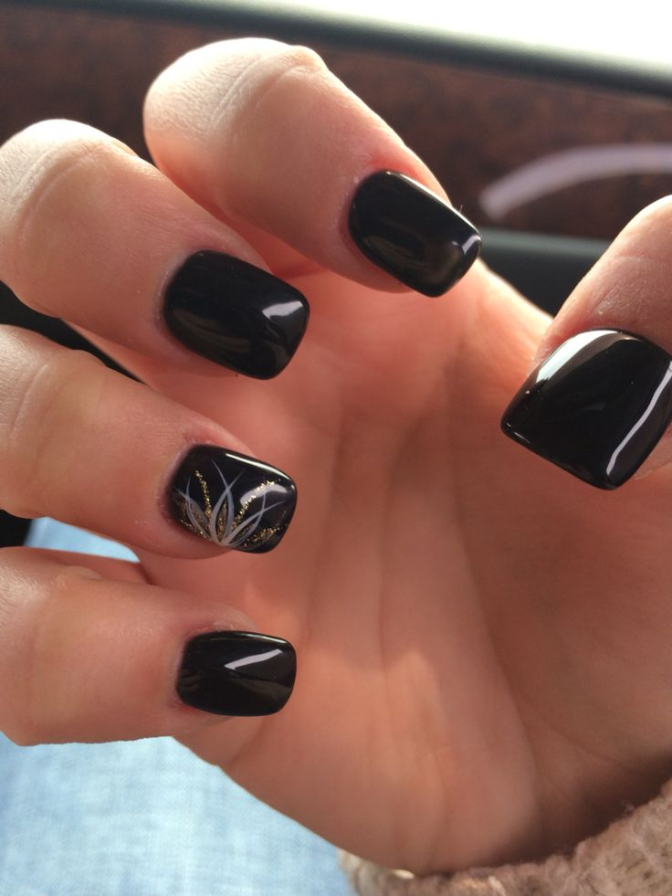 Black Acrylic Nail Art With Accent Flower Design