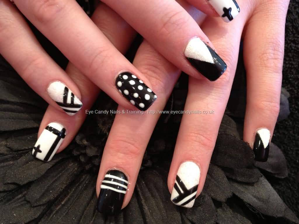40 stylish black acrylic nail art designs black and white acrylic paint nail art design prinsesfo Choice Image