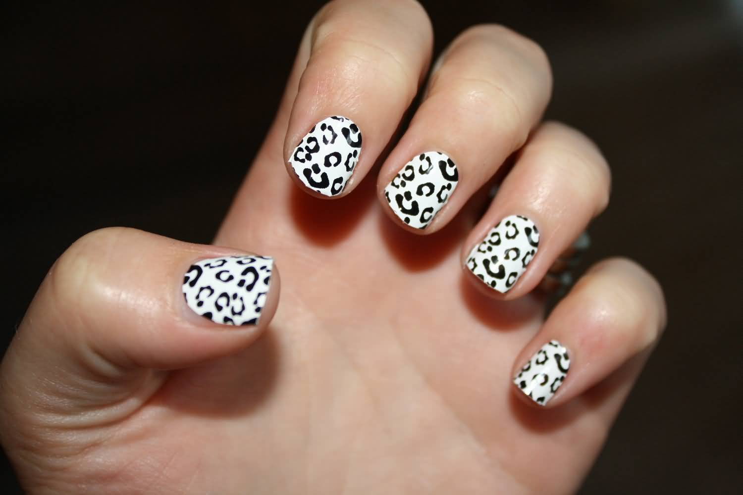 Black And White Leopard Print Nail Art