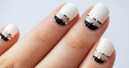 Black and white metallic stripes design nail art prinsesfo Images