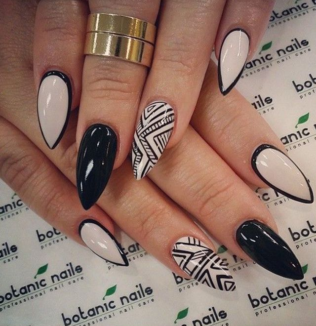 Black And White Tribal Design Almond Shaped Acrylic Nail Art - 45+ Most Beautiful Almond Shaped Acrylic Nail Art Design Ideas