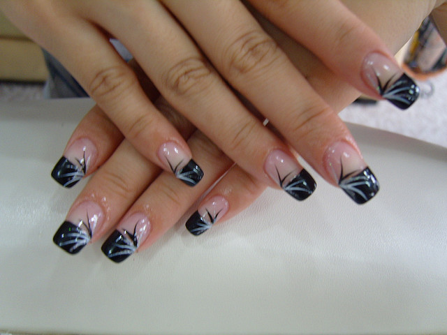 50 most stylish acrylic nail art design ideas black french tip acrylic nail art prinsesfo Image collections