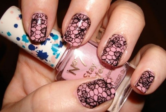 Black lace nail art design on pink nails prinsesfo Images