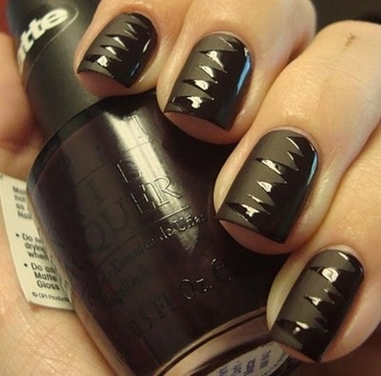 - Black Matte Nail Art With Black Glossy Design