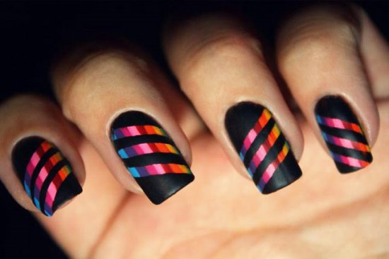 - Black Matte Nail Art With Rainbow Stripes Design