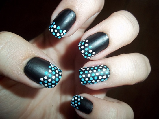 Black matte nail art with white and blue polka dots prinsesfo Gallery