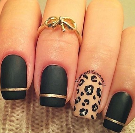 55 latest leopard print nail art design ideas for trendy girls black matte nails with accent leopard print nail art prinsesfo Choice Image