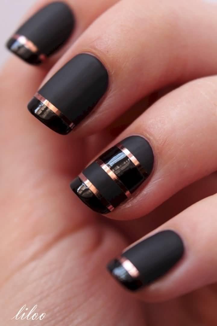 Black matte nails with metallic stripe design prinsesfo Gallery