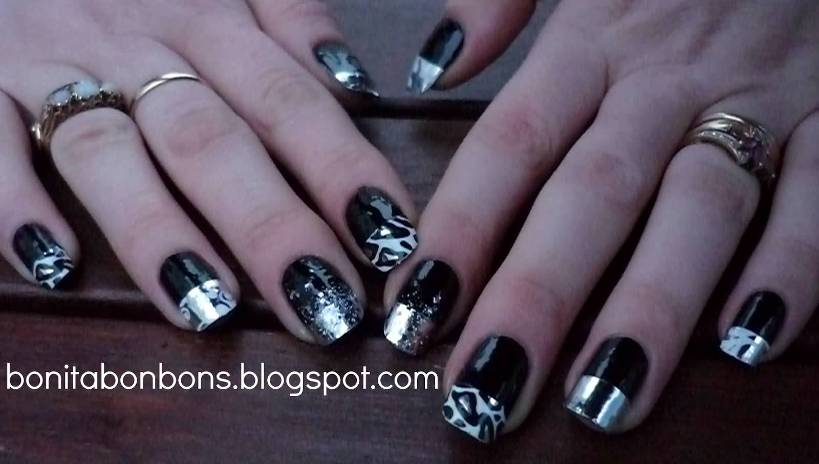 Black Nails With Silver Metallic French Tip Nail Design