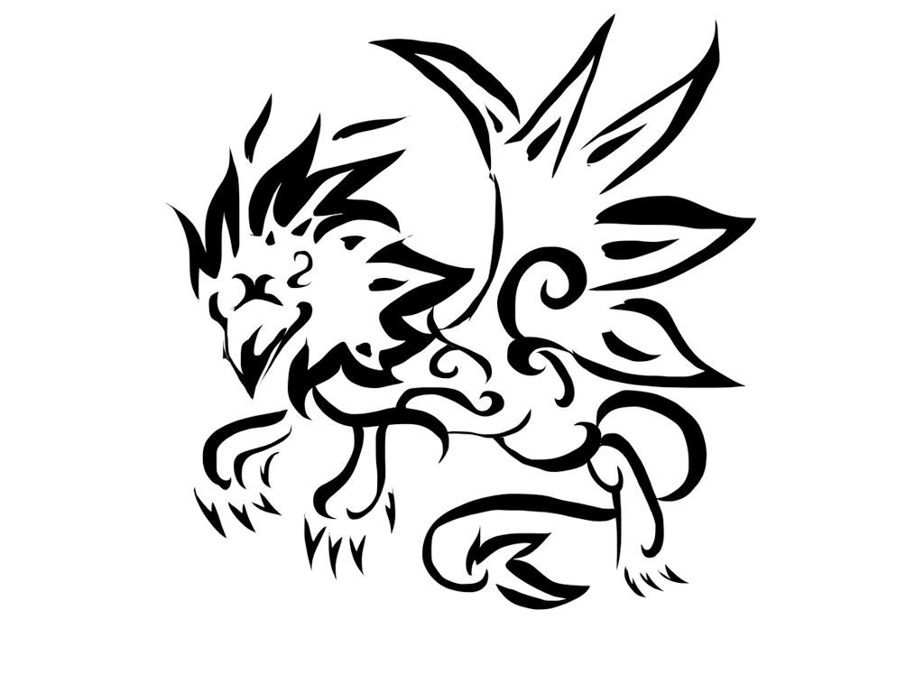 Tribal-Tattoos Black-Tribal-Griffin-Tattoo-Design
