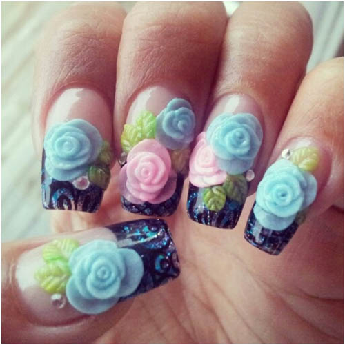 40 latest 3d acrylic paint nail art design ideas blue and pink acrylic 3d flowers nail art prinsesfo Gallery