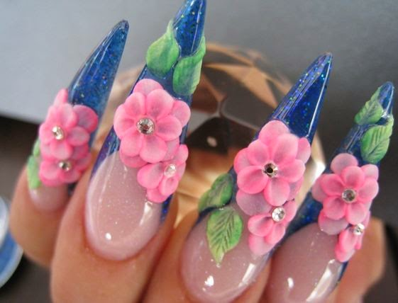 Blue french tip stiletto nails with pink acrylic 3d flowers nail art