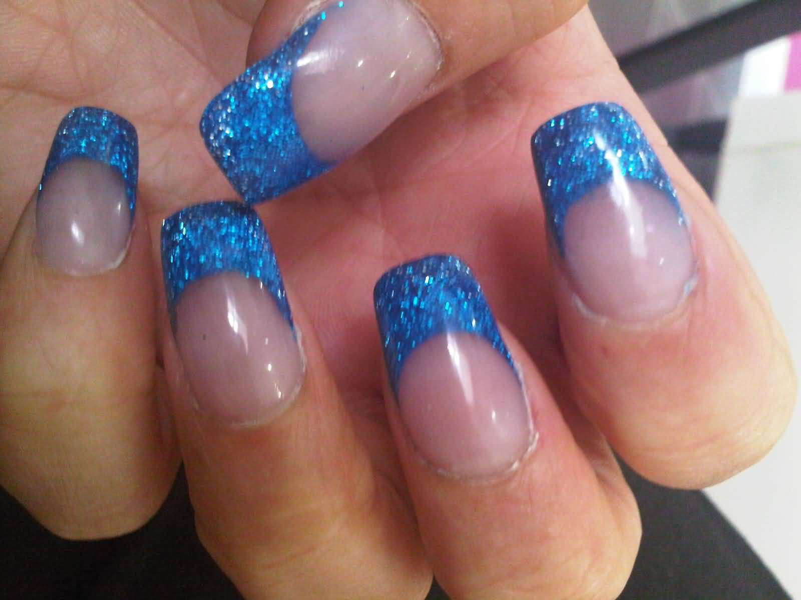 55 most beautiful acrylic nail paint design ideas blue glitter acrylic nail art french tip design prinsesfo Choice Image