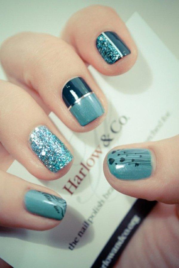 Blue metallic nail art design prinsesfo Images